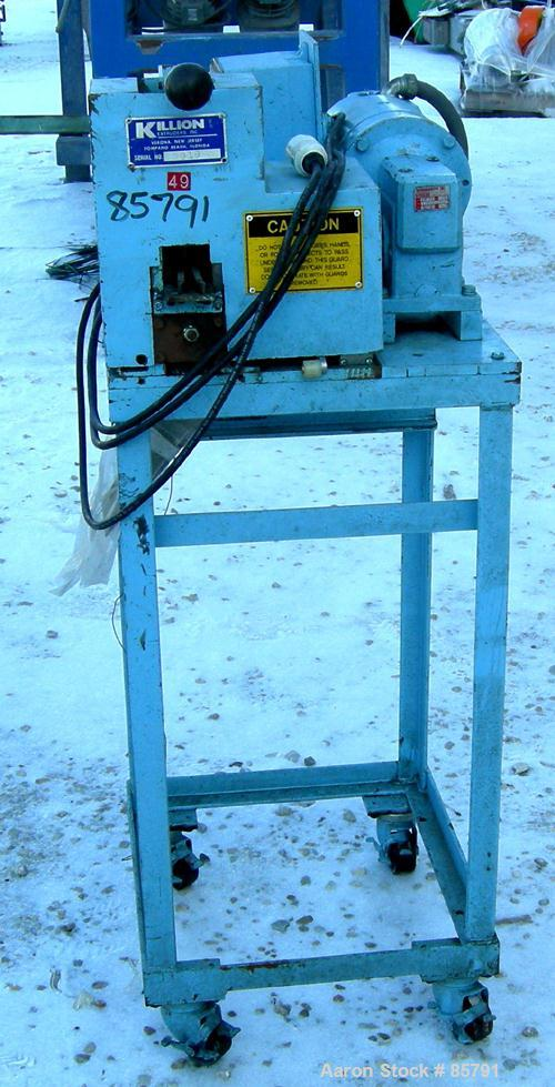 "Used- Killion 2"" Strand Pelletizer. Approximate 18"" helical knife rotor. 1 Rubber and 1 metal pull roll. 40"" centerline heig..."