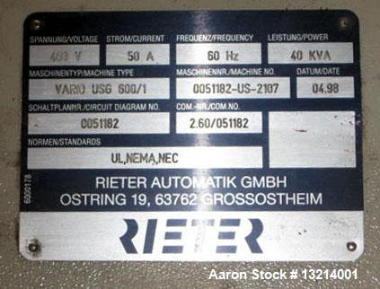 """Used- Rieter Water Slide Pelletizer, Type """"VARIO"""" USG 600/1. Pelletizer is rated at 20,000 lbs. per hour. New blades and sha..."""