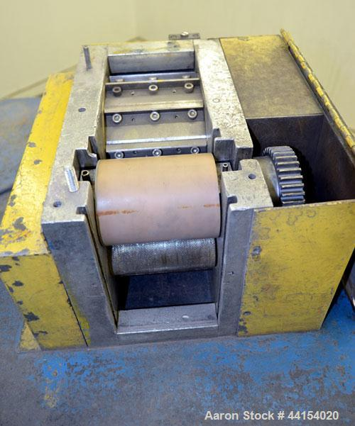 "Used- Wayne Pelletizer. Approximate 4"" wide x 6"" diameter (12) bolt on blade rotor. (1) Rubber, (1) metal pull rolls. Driven..."