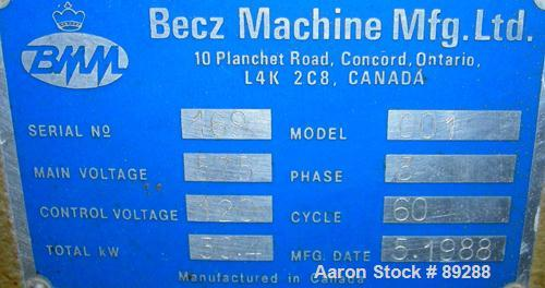 """Used- Becz Machine Vacuum Calibration Table, model 004, consisting of: (1) 26"""" wide x 118"""" long x 2"""" deep 304 stainless stee..."""