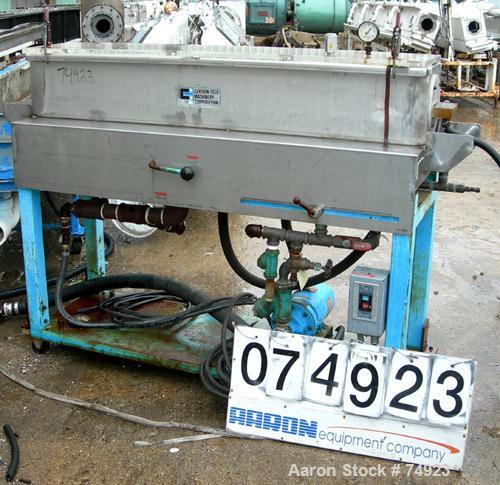 "Used- Certainteed Machinery Vacuum Sizing Tank, 304 Stainless Steel. 9-1/2"" Wide x 9-1/2"" deep x 60"" long. Includes 1 hp pum..."