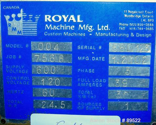 "USED: Royal Machine vacuum calibration table, model 004, consisting of (1) 26"" wide x 118"" long x 2"" deep stainless steel pa..."