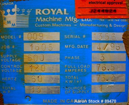 "USED: Royal Machine dual lane vacuum calibration table, model 009, consisting of (1) 17-1/2"" wide x 142"" long x 2"" deep stai..."