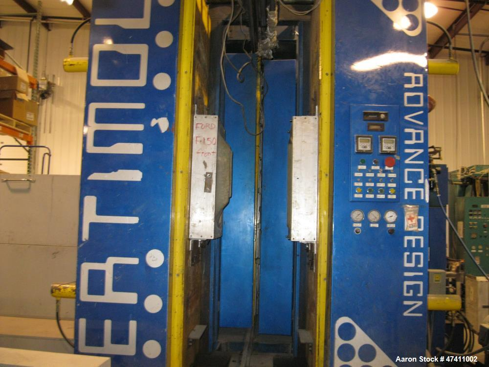 "Used- VeriMold Twin Sheet Verical Thermo Former. 30"" x 88"" mold capacity. 30"" open die space. Opposing ceramic heaters. Dual..."