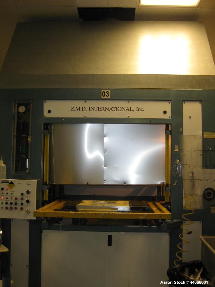 """Used-ZMD International Thermoforming Machine, Model V-222DHCG.  24"""" x 24"""" Forming area, top movable heater platen, bottom sh..."""