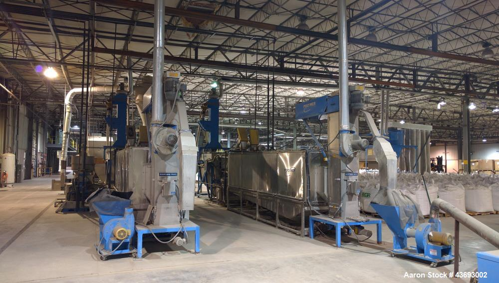 Used- Complete PVC/PET Plastics Wash, Grinding and Sorting System.