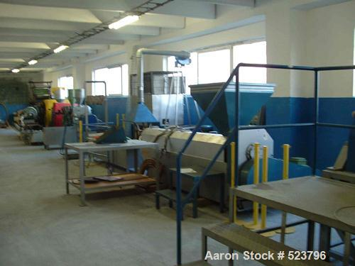 "USED: Recycling line for polyethylene films. EuroPlast Film agglomerator/cutter 55 kW, type DV-55; Yekebash extruder 4.72"" (..."