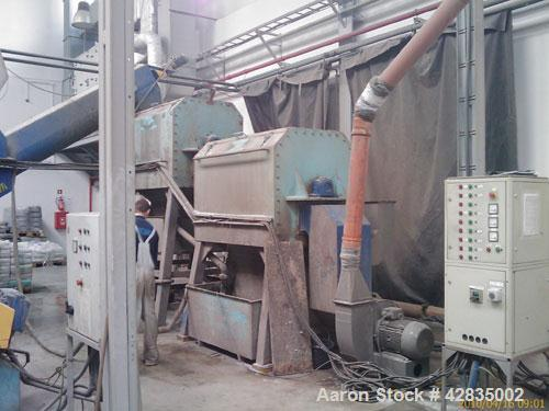 Used-Erema RGA 120 VE Recycling Line, screw diameter 120 mm, output 450-500 kg/h, L/D ratio 22. (1) Erema RM 120 VE extruder...
