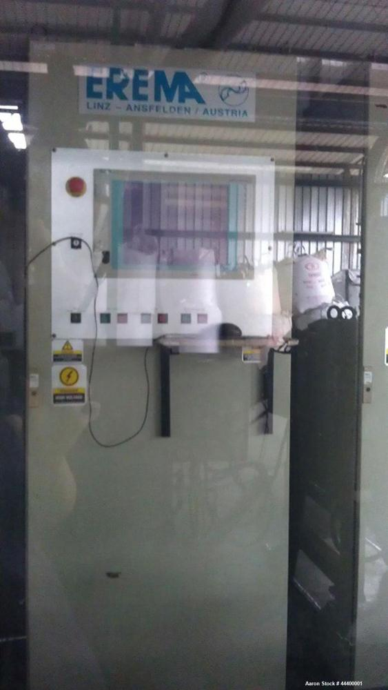 Used-Erema RGA 120T-LF2/350 HGL240 Recycling Line for PVC, maximum capacity 1763 lbs/hour (800 kg), 3/415V/50 Hz, conveyor b...