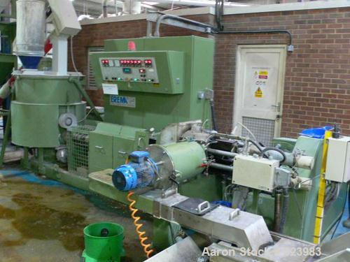 USED: Erema RGA 80 reclaim line. Agglomerator, 80 mm diameterextruder, twin vent, twin pot screen changer, die face cutter,c...