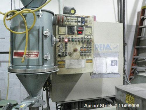 Used-80mm Erema Pelletizing System, Model RGA80. 45 kW motor, 460/60/3. Comes with vacuum loader, material hopper, hydraulic...
