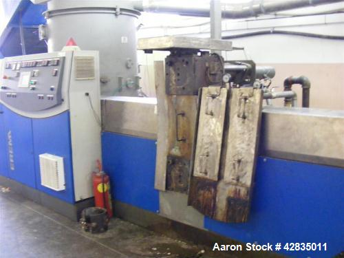 Used- Erema 1100 TVE-DD-HG, ø100mm screw. Up to 350kg/hour output. Includes: cutter compactor, screen changer, pressure sens...