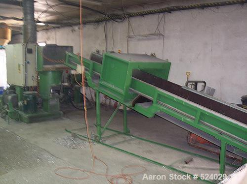 USED: Erema recycling plant RGA 40 HG complete: (1) belt conveyor FB 5000/500; (1) metal detector, type MSG 4; (1) RM combin...