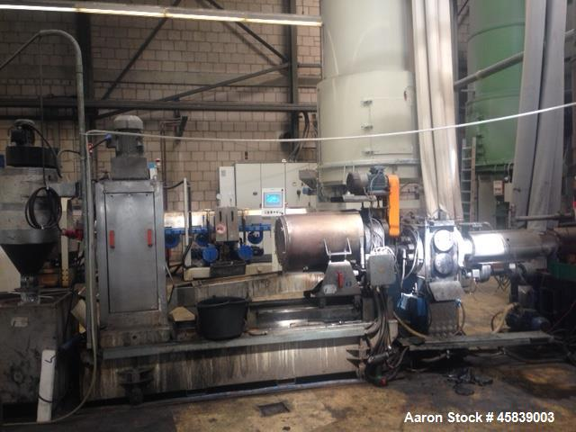 "Used- Extrudex Plastic Recycling Line. Consisting of: (1) Extrudex single screw extruder, type ED-N 90-38D. 38:1 L/D. 3.5"" (..."