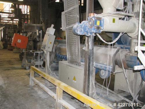 "Used-Gammameccanica GM 160 Recycling Line for PP, PS, PE, EPS and PC.  Comprised of:  (1) Extruder 6.3"" (160 mm), 37 L/D.  (..."