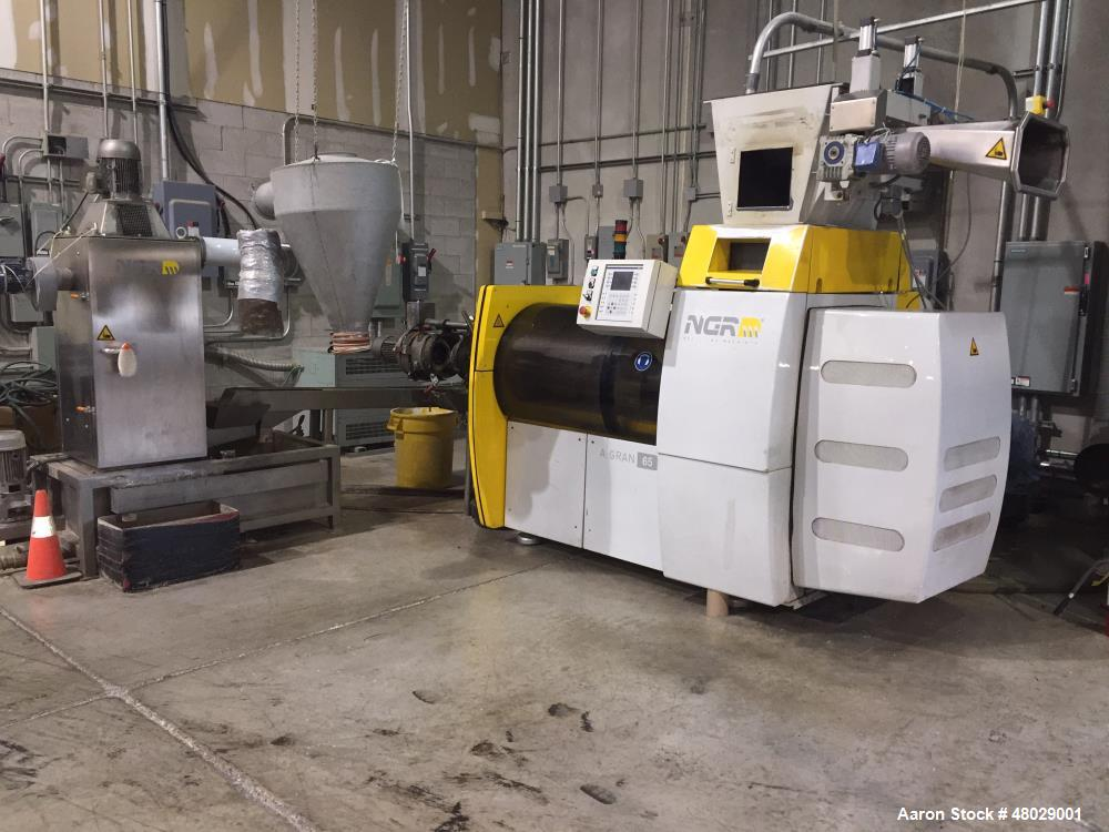 Used- NGR Gran Shredder-Feeder-Extruder Combination Machine, Model A:GRAN 65-40. 65mm x 400mm, 100 kg/hr max. 220 lbs/hr max...