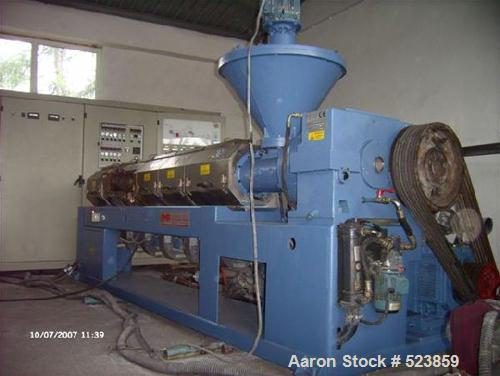"""USED: Complete EPS and EPP recycling line consisting of single screw OMP Prealpina extruder, screw diameter 4.13"""" (105mm), 3..."""