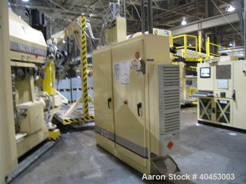 """Used PTI (2004) multi layer sheet extrusion line including the following: A) (1) Used PTI model 6000 Trident series 6"""", 28:1..."""
