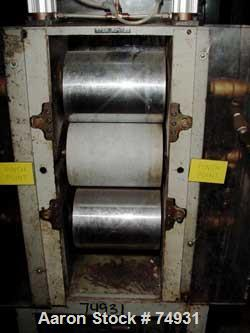 """USED: 3 roll sheet stack. (2) 6"""" diameter x 8"""" wide chrome plated, (1) 6"""" diameter x 8"""" wide metal cored rolls, pneumaticall..."""