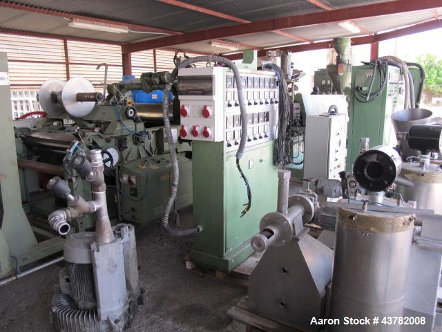 "Used- Bandera Sheet Manufacturing Line. Comprised of: (1) Bandera extruder model TR-100, 3.9"" (100mm) diameter screw, 30 L/D..."