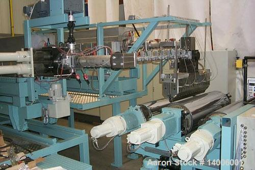 "Used-Barmag Coex Sheet Film Line with 2 extruders for A-B-A layer structure. (1) 3.54"" (90 mm) with 176 hp/132 kW DAC motor ..."