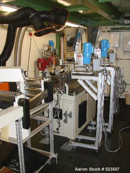 "USED: Berstorff twin screw extruder line. (1) Berstorff extruder 1"" (25mm), type ZE25 40D, Feller control panels included. (..."