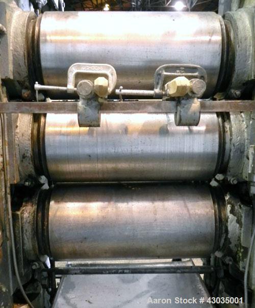 Used- Carbon Steel Berstorff 3 Roll Vertical I Shaped Calendar