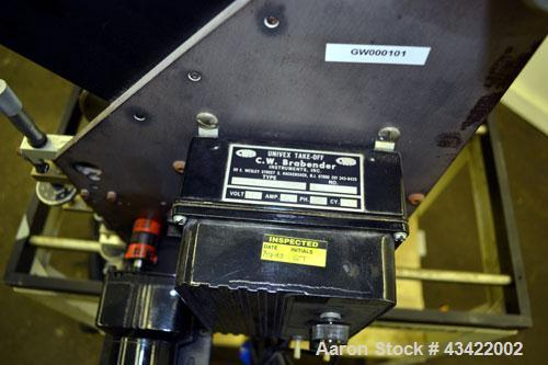 """Used- C.W. Brabender Univex Lab Take Off. Approximate capacity speeds of up to 30 meters per minute. Consisting of (3) 4"""" di..."""