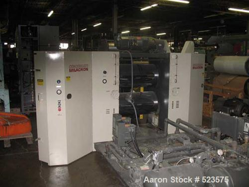"""USED: Cincinnati Milacron 3 roll stack/laminator. Two cored for cooling chrome rolls 17.75"""" diameter x 34"""" wide; two aluminu..."""
