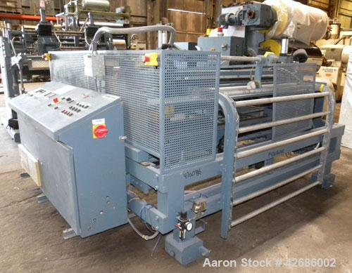 """Used- Crown Sheet Take Off System Consisting Of: (1) Crown 3 roll """"J"""" sheet stack. (2) 30"""" Diameter x 60"""" wide chrome plated..."""