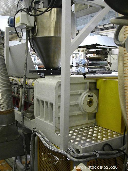 "USED: Gefran sheet extrusion line. (1) Extruder Tr1-75/35, screw diameter 2.95"" (75mm), degassing, 380V/50 hz/3 ph; (1) die ..."