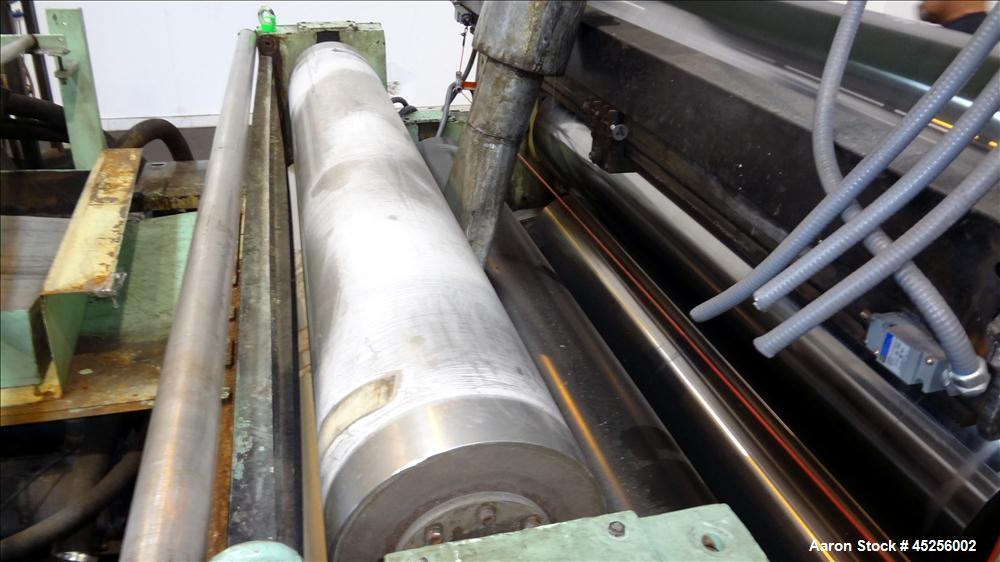 "Used- Goulding 3 Roll Sheet Stack. (3) 16"" Diameter x 80"" wide chrome plated cored rolls, (3) additional cored cooling rolls..."
