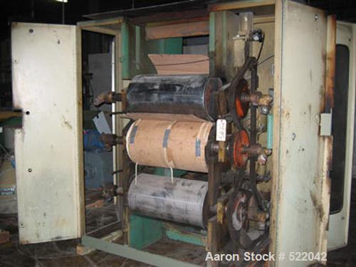 "USED: Johnson 3 roll sheet stack. 16"" diameter x 30"" wide roll dimensions. Pneumatically operated, roll chain driven thru ge..."