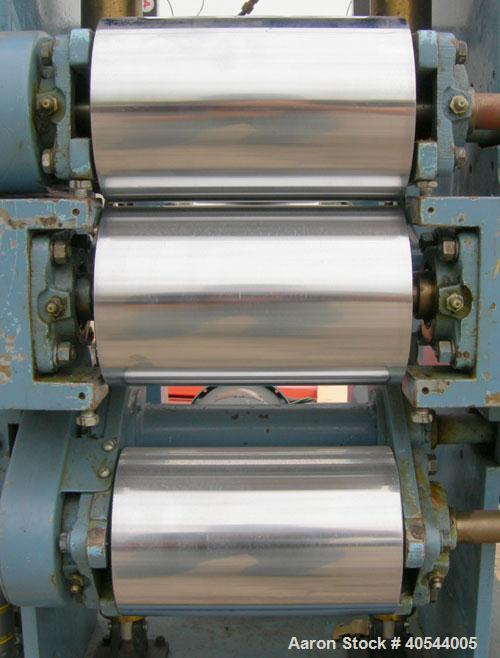 "Used- Killion 3 roll sheet stack. (3) 5"" diameter x 8"" wide chrome plated cored rolls, pneumatically adjustable, (1) 5"" diam..."