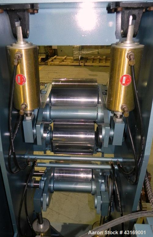 "Used- Killion 3 Roll Sheet Stack. (3) 10"" Diameter x 10"" wide chrome plated cored rolls, pneumatically adjustable. Driven by..."