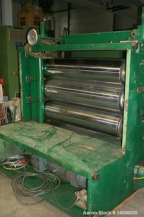"Used-Kuhne 3 Roll Polishing Stack 49.2"" x 11.8"" (1250 x 300 mm) diameter, one DC drive."