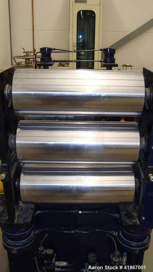 "Used-Leistriz Lab Size 3 Roll Sheet Stack. (3) 5.85"" diameter x 15.6"" straight side, 2 fixed and 1 removable chromed rolls, ..."