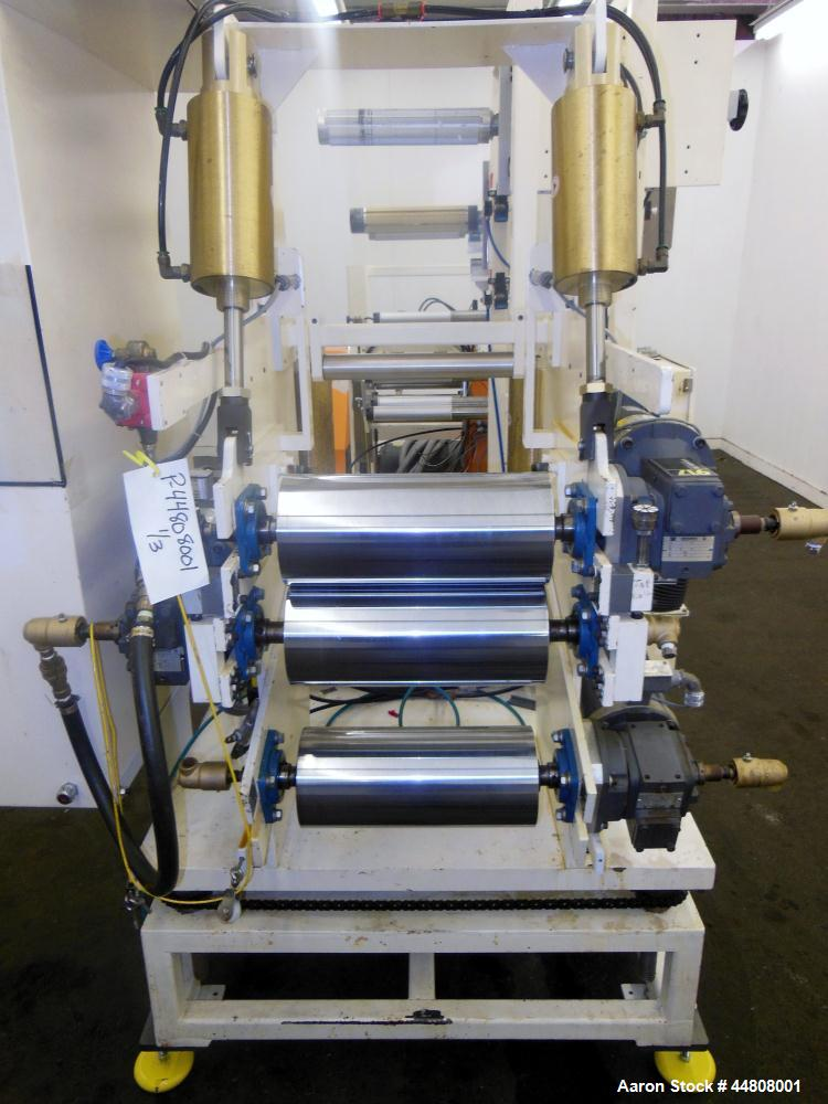 "Used- Leistritz Three Roll Sheet Stack. (3) Chrome plated cored rolls, 6"" diameter 14"" wide face. Each roll pneumatically ad..."