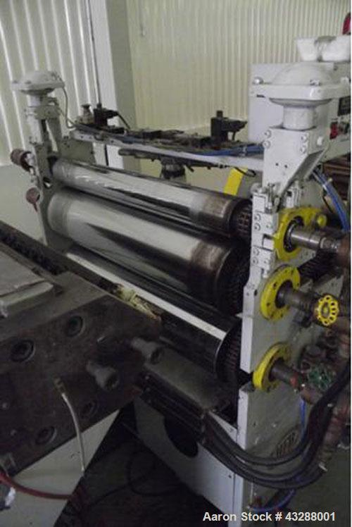 """Used-MEAF Coextruder for film production.  Three screw extruder with diameters 2.36"""", 1.97"""", 1.97"""" (60, 50, 50 mm), handles ..."""