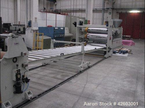 "Used-Single Screw Extrusion Line. (1) 3.94"" (100 mm) extruder, L/D 33, double door venting, 152 hp/114 kW motor. (1) Die hea..."