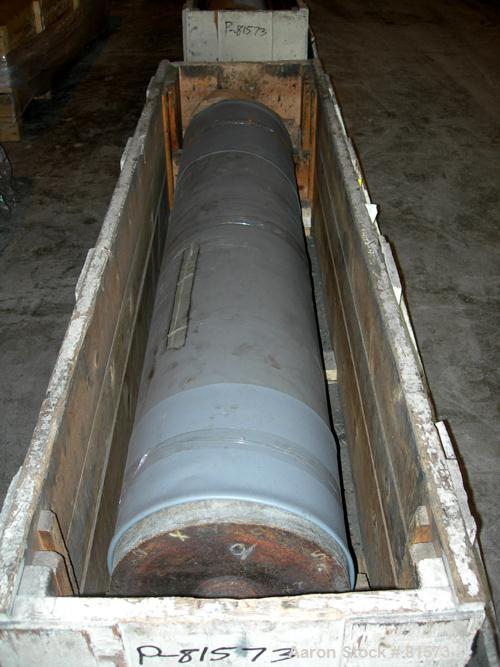 "USED: NRM 78"" wide 3 roll sheet stack. (1) 16"" diameter pattern cored roll, (2) 16"" diameter chrome cored rolls, manually ad..."