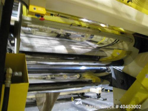 "USED PTI MODEL 842440 SHEET TAKE-OFF UNIT CONSISTING OF (3) 84"" FACE CHROME ROLLS MOUNTED IN A ""J"" ARRANGEMENT FOR UPSTACK O..."
