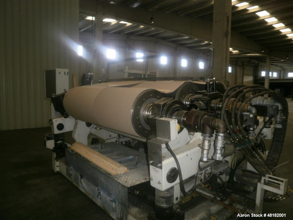 "Used- Reifenhauser 3-Roll Sheet Stack. 19.5"" (500 mm) diameter x 62.4"" (1600 mm) st. side rolls. Max roll speed 43.3 rpm ind..."
