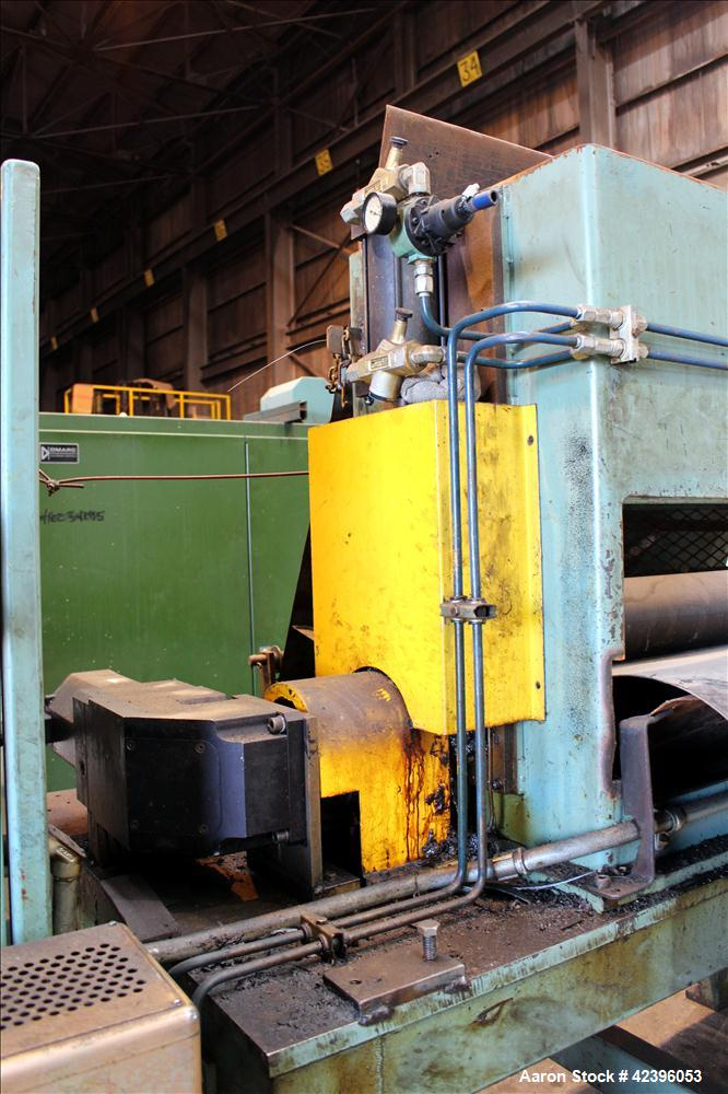 "Used- Sterling three roll vertical sheet stack, 30"" diameter x 64"" roll face width rolls, cored and chromed rolls with rotar..."