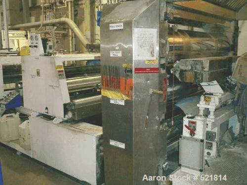 """USED: 77"""" wide Welex sheet extrusion downstream consisting of the following: 18"""" O.D. x 77"""" wide 3 roll sheet extrusion stac..."""