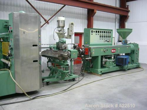 USED: Welex co-extrusuion sheet line consisting of the following:90mm Welex single screw extruder, 30:1 L/D, 226 screw rpm, ...