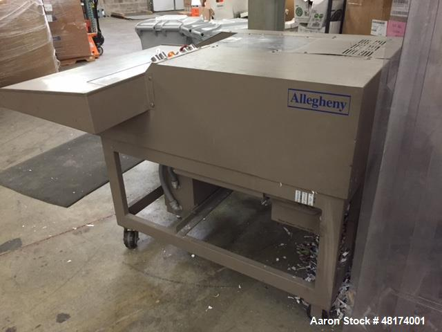 "Used- Allegheny Paper Shredder, Model 16-150C. 7 1/2 hp, capacity 140-150. Input speed 49'/15 meters per min. 16"" wide feed ..."