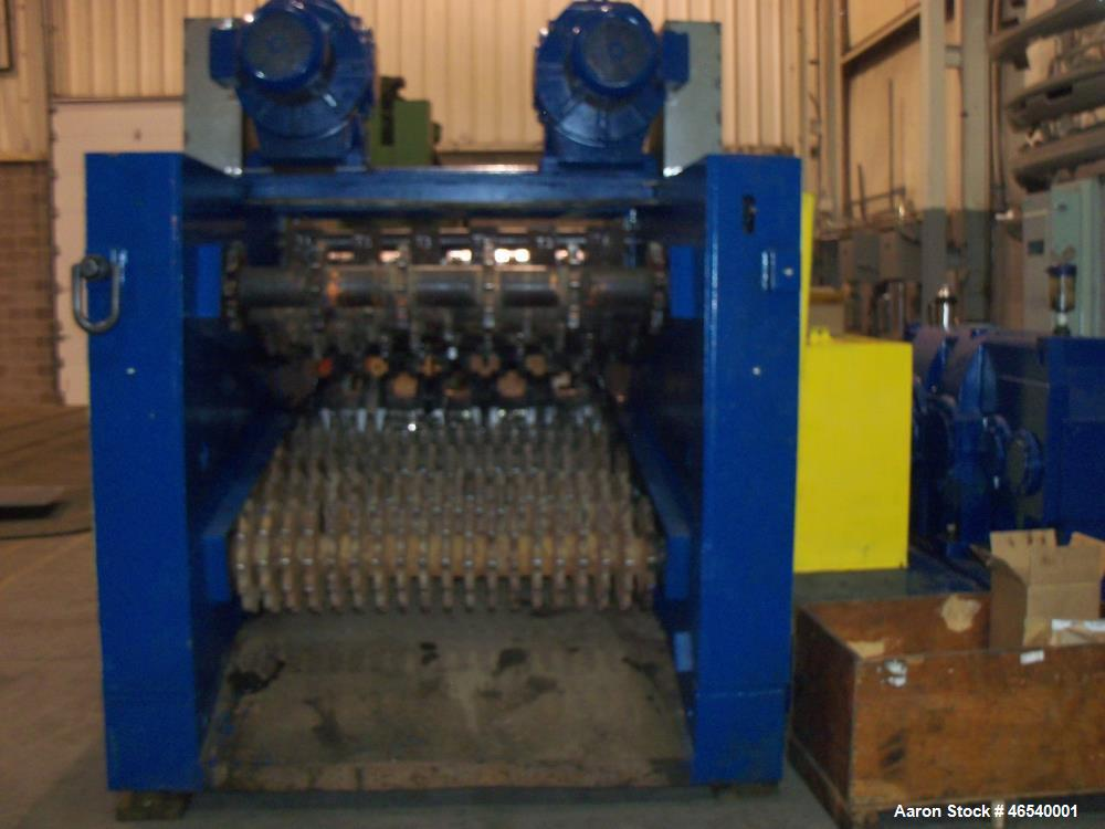 Used- Amerishred Primary Single Pass Tire Shredder. 100hp 575VAC, Hansen Transmission. Tire feeder with twin drive units, 22...