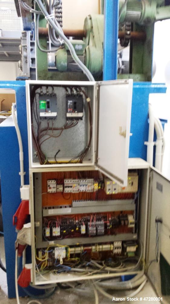 Used- Untha Four Shaft Shredder, Model RS40. 2 x 15kw. Cutting chamber 750 x 700. Extra pushing fuction, pusher is connected...