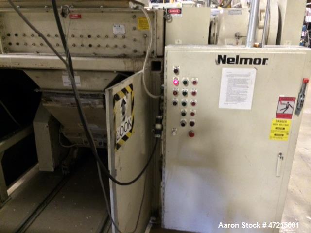 Used- Nelmor Shredder/Granulator System, Model 4625. 1/2 thick cutters, sound controlled, granulator has 3 blade open rotor....